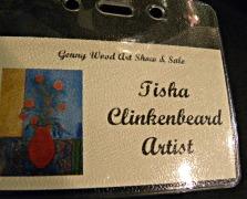 "my first name tag denoting my ""artist"" status!"