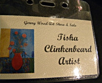 "my first name tag denoting my ""artist"" status!"