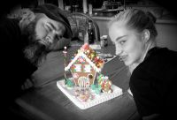 Hubby & daughter making gingerbread house