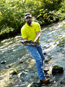 Hubby with salmon in Alaska