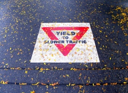 yield to slower sidewalk traffic